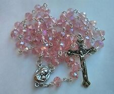 Pink Glass Crystal Beads Rosary Necklace With Silver Plated Holy Soil Medal