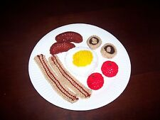 Hand Knitted Toy Play Food - Full English Breakfast  - New