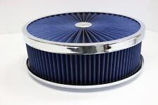 "14"" X 4"" Chrome Round Blue High Flow Thru Washable Air Cleaner Flat Base SBC 350"