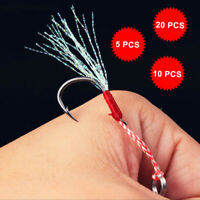 PROBEROS High Carbon Assist Fishing Jig Hooks Bait Stainless Steel Ring PE Line