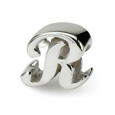 Letter R Script Bead .925 Sterling Silver Antique Finish Reflection Beads