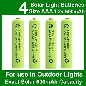 4 x AAA Solar Light Batteries 1.2V 600mAh NiMH for Outdoor Garden Lights UK