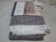 """Threshold Quality & Design Fabric Shower Curtain 72x72"""" BERRY WOVEN FRINGE New"""
