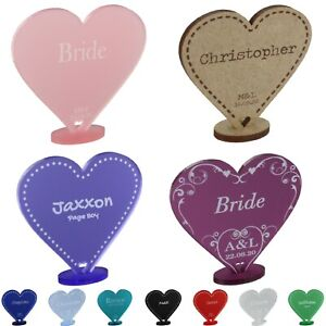 Personalised Wedding Place Name Cards Table Setting Freestanding Heart Favours