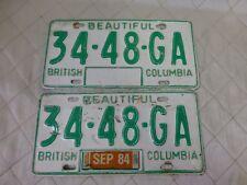 Vintage BC British Columbia License Plate Matching Pair 34 48 GA Green White