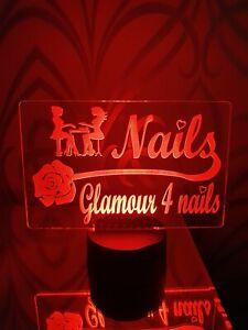 Personalised Nail Bar Beauty Salon LED Light Sign Bar Pub Display Hair