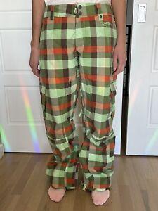 Burton Women's Green and Orange Plaid Ski/Snowboard Pants, Size Small