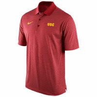 NEW NIKE USC Trojans Dri-Fit Red Striped Golf Polo Shirt Officially LIcensed XXL