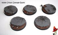 40mm x 5 Urban Damage , Round Resin Bases  style 40k sci-fi