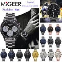 MIGEER Fashion Men Crystal Stainless Steel Analog Quartz Wrist Watch Bracelet