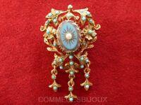 """Broche """"Néo Classique Table des Vents"""" N° 7 Turquoises - Bijoux Vintage Sphinx"""