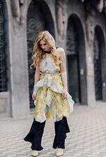 $150 H&M CONSCIOUS EXCLUSIVE Studio Silk Ruffle Floral Dress Sz EUR 32 US 2 RARE