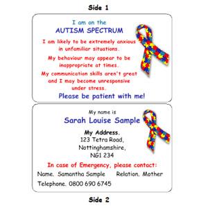 MEDICAL CARD AUTISM SPECTRUM