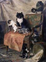 """Henriëtte Ronner-Knip, Kittens at play, CATS, Home Decor, 16""""x11"""" Art Print"""