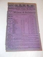 G.W.R  Advertising Flyer For Salisbury & Bath Horse Racing Meetings Dated 1911