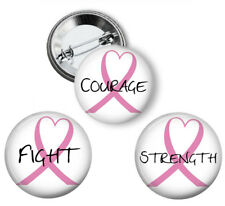 Breast Cancer Awareness Pink Ribbon Pinback - Button Pins, 3 Pack, 207