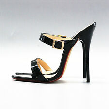 14 cm Sexy sky high heels patent black sandals fetish high heels US12 43