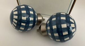 lot Of 2 POTTERY BARN KIDS blue gingham finials checked plaid