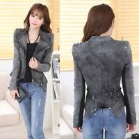 Women's Rock Punk Rivet Studded Motorcycle Slim Denim Jacket Coat Blazer S-6XL
