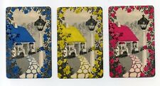 YOU GET 3! Cottage with Roses & Lamppost Vintage Playing Swap Trading Cards.