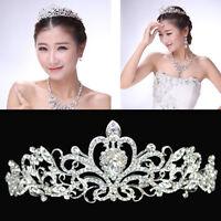 Wedding Bridal Princess Austrian Crystal Hair Tiara Crown Veil Headband Pageant