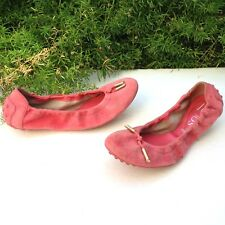 SALE TOD'S Dee Laccetto Coral Suede Leather Ballerina Slip On Flat Shoes Sz 6.5