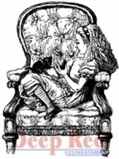 Deep Red Rubber Cling Stamp Alice in Wonderland sitting in an Armchair