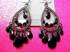 Black Chandelier Dangle Earrings