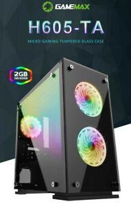 RGB Computergehäuse PC Case Gaming mATX GAMEMAX H605-TA Tempered Glass 3x RGBFan