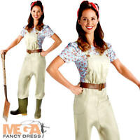 Land Girl 40s Ladies Fancy Dress WW2 Womens Adults 1940s Army Costume Outfit New
