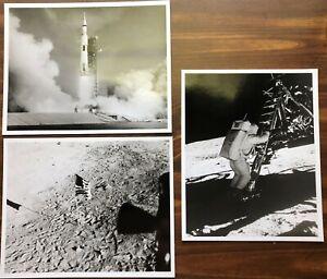 6 NASA Apollo 11 photos. Saturn V rocket launch, Astronauts Moon Space