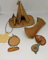 Vintage Alaskan Native American  Birch Bark Teepee And Canoe toys figurines