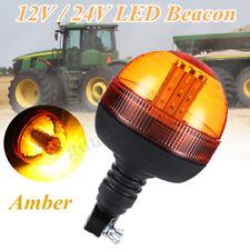 LED Rotating Flashing Amber Beacon DIN Pole Mount Tractor Warning Light 12/24V