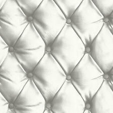 LUXURY DESIRE WHITE LEATHER HEADBOARD FAUX QUALITY ARTHOUSE WALLPAPER 618102