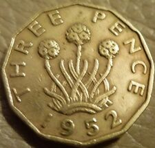 GEORGE VI 1952  BRASS THREEPENCE  EXCELLENT CONDITION COIN HUNT