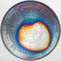 1998 SAO TOME AND PRINCIPE 2000 DOBRAS .999 SILVER UNC RAINBOW TONED COLOR (DR)