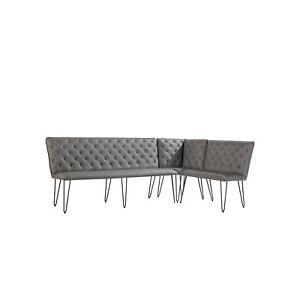 Large Grey Corner Dining Bench Set with Studded Back