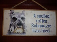 Spoiled Rotten Schnauzer Wood Sign Plaque 5 X 10 Usa Made