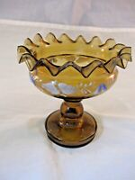 ANTIQUE AMBER GLASS PEDESTAL CANDY DISH - HAND PAINTED DECORATION  RUFFLE EDGE