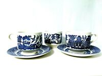 VTG Churchill Blue Willow 8oz Coffee Tea Cups & Saucers England 3 Cups 2 Saucers