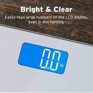 Digital Bathroom Weighing Scale Blue LCD Display with Body Tape Measure 400 Lbs