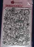 NEW Woodware 'Faithful and Joyful' Christmas Clear Stamp JGS280
