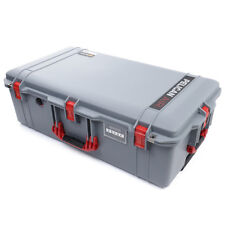 Silver & Red Pelican 1615 Air case No Foam.  With wheels.