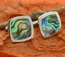 Steel Abalone Cuff Links-Men's Jewelry,Square,Shell Inlay,Husband,Dad,Groom,Gift