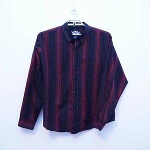 HARLEY DAVIDSON Men's Red/Black Striped Long Sleeve Embroidered Shirt sz XL