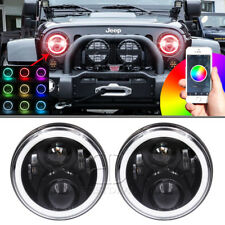 NEW 7'' RGB LED Headlight Bluetooth Halo DRL H/L Beam For Jeep JK 07-16 Wrangler