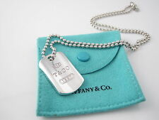 Tiffany & Co Silver RARE 1837 Dogtag Dog Tag 20 Inch Bead Necklace!
