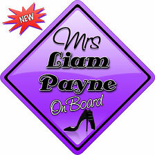 Mrs Liam Payne One Direction Novelty Car sign like Baby on Board New 1D