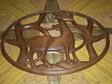 """Beautiful Oval Wood Wallhanging Gazelle Trees  About 12 1/8"""" x 16 1/2 Inches"""