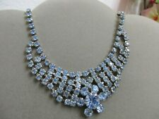 Vtg.Light Blue Rhinestones Necklace CHoker Costume Fashion Jewelry BLING BLING